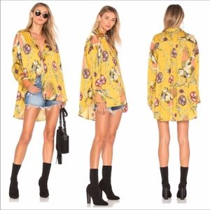 Free People Oversized Silky Nights Marigold Floral